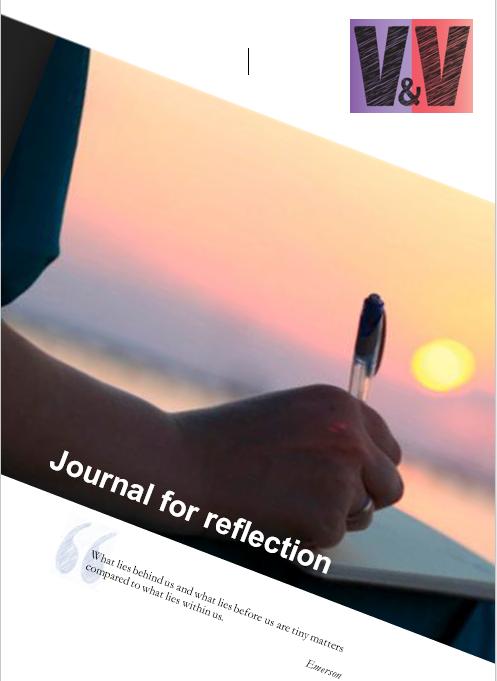 Image of V&V journal cover - hand with pen against sunset
